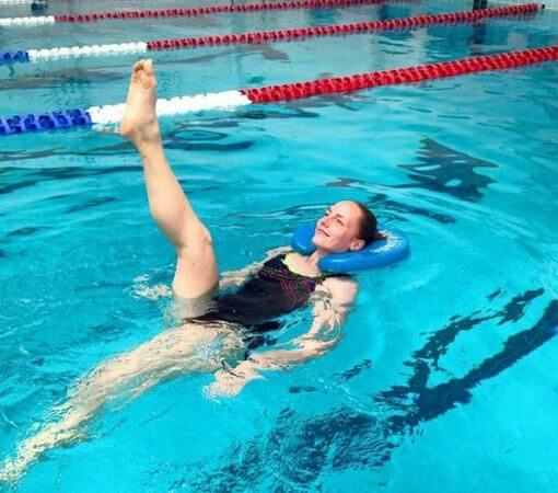 8129eed74363 Join instructor Stephanie Olson for this fun fitness workshop in the Lap  Pool where jogging, skiing and kicking are performed in upright, seated and  flowing ...